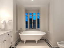 White Bathroom in the Greek style with traditional patterns on the floor
