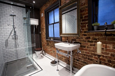 Bathroom in the loft-style - Masonry walls, plumbing simple forms