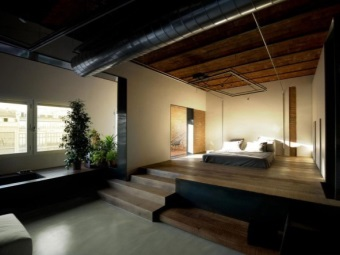 The spacious bathroom combined with bedroom - loft