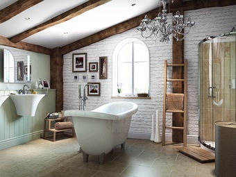 Bathroom in loft style with paintings , chopsticks and other accessories