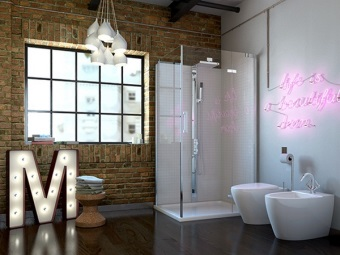 Bathroom in loft style with the decor of Art Nouveau