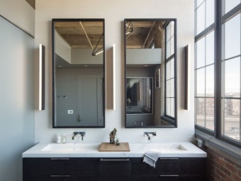 Bathroom in the loft-style with furniture in modern style