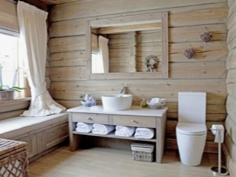Wooden furniture in wood - Chalet bathroom