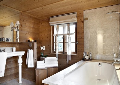 The interior of the bathroom in a chalet -style