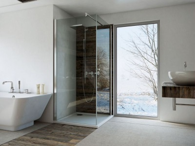 Bathroom in a Scandinavian style - natural materials , large windows , light walls and plumbing