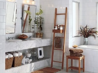 Wooden furniture in white bathroom in the Scandinavian style