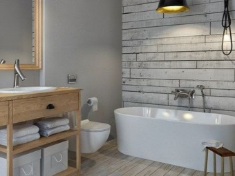 Furniture, floors and bathroom walls made ​​of natural wood in the bathroom in the Scandinavian style
