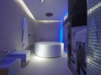 The bathroom in style hi-tech - neon lights and a round bathtub