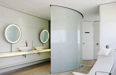 Unusual bathroom interior in high-tech style