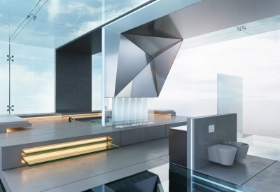Modern bathroom interior in high-tech style - a bath with a podium