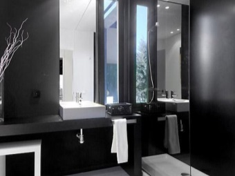 Black and white bathroom with high-tech style