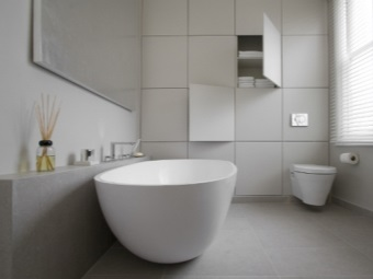 White bathroom in style hi-tech