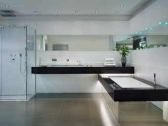 Rectangular mirror bath in the bathroom in style hi -tech