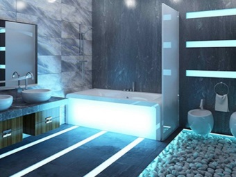 White bathtub with light in the bathroom in style hi -tech