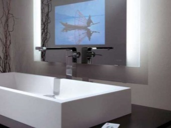 Crane sink in the bathroom in the style of hi-tech and mirror with TV
