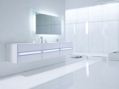 White furniture symmetrical shape for the bathroom in style hi -tech