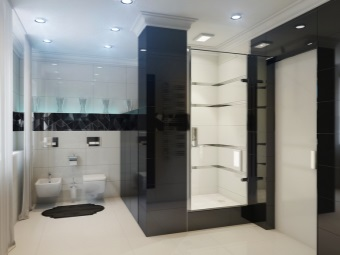 Bathroom with shower and bath in high-tech style with bright spotlight