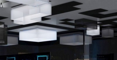 Unusual ceiling lights in the bathroom in style hi -tech