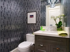 Making wallpapered bathroom in the art deco style
