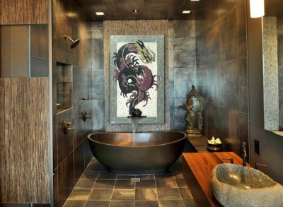 Bathroom decorated in Chinese style