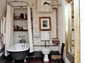 Features a retro style bathroom