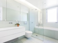 Glass partitions in the bathroom