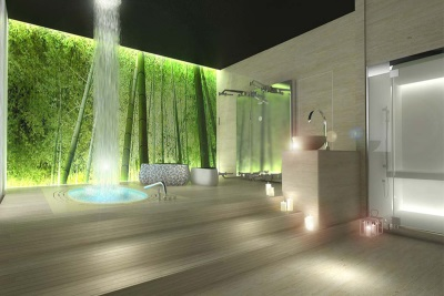 Panels and waterfall in the bathroom