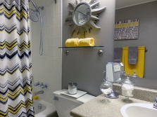 Gray- yellow bathroom