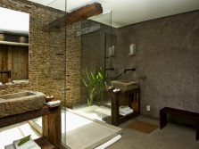 Eco - style in the spacious bathroom