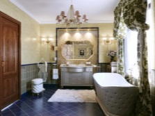 Textiles in luxurious spacious bathroom