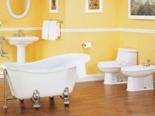 Fashionable bathroom in yellow