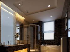 Shower and bath in a trendy bathroom