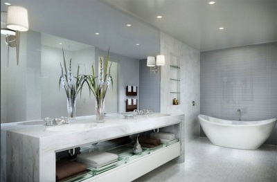 Fashionable bathroom in gray