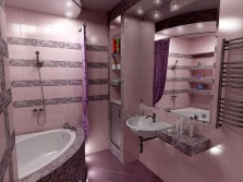 Gray- pink bathroom