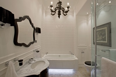 Fashionable bathroom in white