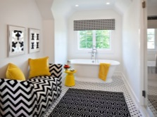 Bright accessories for white bathroom