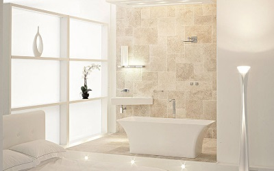 Fashion beige and white bathroom