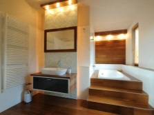 Bathroom with bath podium