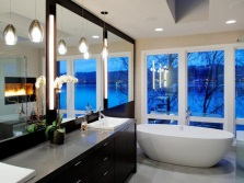 Large mirrors in the fashionable bathroom