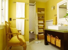 Yellow bathroom without a toilet for sanguine