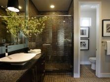 The spacious bathroom with shower and separate toilet
