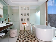 Oval bath in the spacious bathroom without toilet