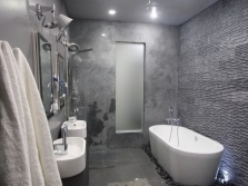 Grey bathroom with white sanitary ware