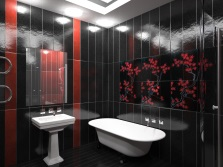Graphic model of a bathroom in black