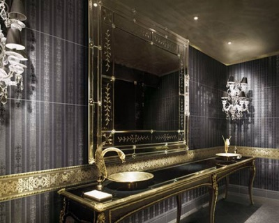 Black bathroom with gold inserts