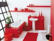Red furniture and sanitary ware in the bathroom