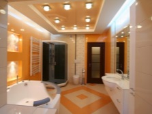Orange and white bathroom