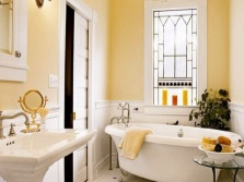 Yellow- white bathroom
