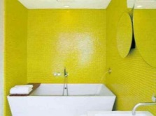 Bathroom with bright yellow walls