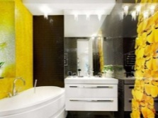 Yellow bathroom with black contrast